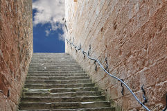 Stairway to Heaven. Stairway leading up to the sky. Could represent a career, success, a journey, or going to heaven Stock Photo