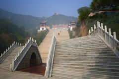 Stairway to Heaven. Chinese temples of stone staircase Royalty Free Stock Images