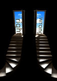 Stairway to Heaven. Open door with stairs and a blue sky with clouds Royalty Free Stock Photography