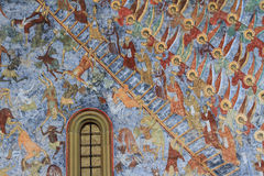 Stairway to heaven. Painting on Sucevita Monastery Wall stock image