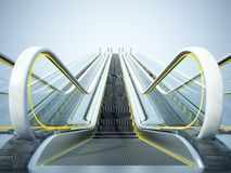 Stairway to Heaven. Close-up of the modern escalator on the blue sky background Stock Images
