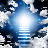 Stairway to heaven. Stairway in open sky to light Stock Photography