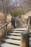 Stairway to Heaven. Wooden Stairway leading uphill, in Hokkaido Japan Stock Photos