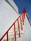 Stairway to heaven. White stairway towards the blue sky Stock Photos
