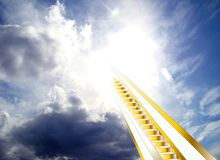 Stairway to heaven. Golden stairway leading to heaven through beautiful blue clouds in the sky. composition of photo and drawing stock illustration