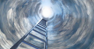 STAIRWAY TO HEAVEN. A chrome step ladder to heaven Stock Photos