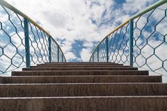 Stairway to heaven with clouds. In the park in nature Stock Photos