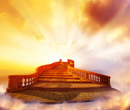 Stairway to Heaven. Concept with Bright Sky and Light Beams Royalty Free Stock Photo