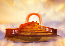 Stairway to Heaven. Concept with Bright Sky and Light Beams Stock Photography