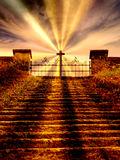 Stairway to heaven. Cross and gate. Stock Photos