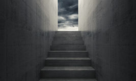 Stairway to heaven, empty dark interior. Stairway to heaven, abstract empty dark concrete interior background, front view, 3d illustration Stock Images