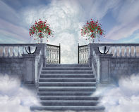 Stairway to heaven. Fantastic view of a staircase leading to the gates of heaven Royalty Free Stock Photography