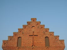 Stairway to Heaven - gable of church with cross Royalty Free Stock Photo