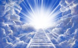 Free Stairway To Heaven In Glory, Gates Of Paradise, Meeting God, Symbol Of Christianity, Art Illustration Painted With Royalty Free Stock Photos - 166474098
