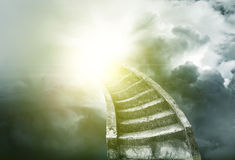 Stairway to heaven. Stairway leading up to bright light vector illustration