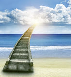 Stairway to heaven. Stairway leading up to bright light Royalty Free Stock Images