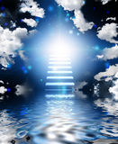 Stairway to heaven. Stairway leads up into light stock illustration