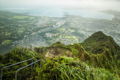 Stairway to Heaven in Oahu island Hawaii Royalty Free Stock Images
