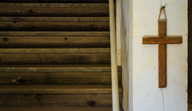 A Stairway to heaven. In an old mission church Stock Photos