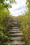 Stairway to heaven. Old ruined concrete stairway to heaven was found in wild russian forest near abandoned soviet army facilities Stock Photos