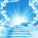 Stairway to Heaven.Stairs in sky. Concept with sun and white clouds.Concept  Religion  background Stock Photos