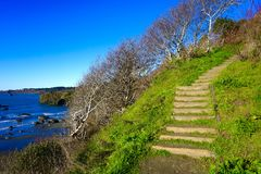 Stairway to Heaven. A trail leading to a beautiful beach in northern California stock photo