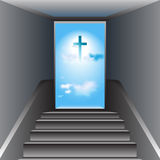 Stairway to Heaven. Way to God. The Cross of Jesus Christ. Gray stairway. Open door. Heaven. Blue sky with white clouds. The Cross of Jesus Christ in center vector illustration