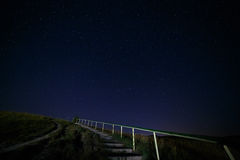 Stairway to hill on the background  night sky Royalty Free Stock Photography