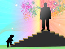 Stairway to lifes. Child does step on stairway to top, man on top Royalty Free Stock Images