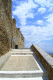 Stairway to medieval fortress. The stairway to Byzantine fortification of Kavala  old city,Greece Royalty Free Stock Photos