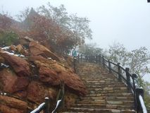 Stairway to the mountain peak Stock Photography