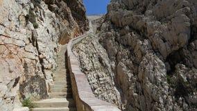 Stairway to Neptune cave , Sardinia Royalty Free Stock Photos