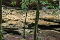 Stairway To Nowhere. Ancient stone staircase leads to nowhere in Hocking Hills State Park. Logan, Ohio stock photo