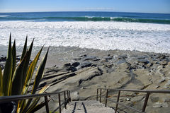 Stairway to Oak Street Beach in Laguna Beach, California. royalty free stock photography