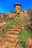 Stairway to old firepower. Stairway up from the lake, used by occupants of this old fire tower out on the Wichita Mountains Wildlife Refuge Stock Photography