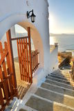 Stairway to Panagia Thalassitra church at sunset. Plaka, Milos. Cyclades islands. Greece Royalty Free Stock Photography