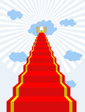 Stairway to paradise. Red carpet into sky. Gates of paradise. Do Royalty Free Stock Image