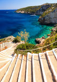 Stairway to the sea. Beautiful view of the the stairs to the sea at the blue caves on the island Zakynthos Royalty Free Stock Photos