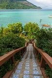Stairway to sea on Koh Lipe island Royalty Free Stock Photos