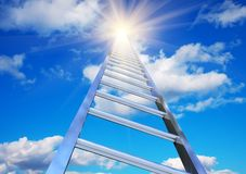 Stairway to the sky. Endless stairway to the blue sky with shining sun Royalty Free Stock Image