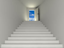 Stairway to the sky. White room with stairway to the sky stock illustration