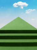 Stairway To The Sky. Green steps stairway leading up to the sky. Conceptual Stock Illustration