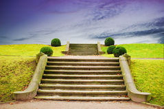 Stairway to Sky. A stone stairway in anture with blue sky Stock Photo