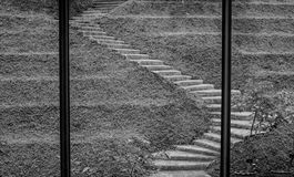 Stairway to the sky. In black and white Stock Photo