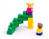 Stairway to success #2. Another version of the stairway to success (toy style royalty free stock photo