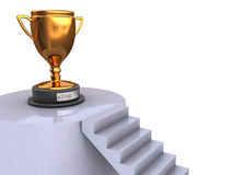 Stairway to trophy. Abstract 3d illustration of stairway to golden tropgy cup Stock Images