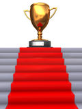Stairway to trophy. Abstract 3d illustration of stairway to golden trophy Stock Image