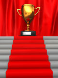 Stairway to trophy. 3d illustration of stairway to golden trophy cup Stock Photography