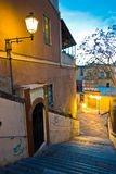 Stairway at twilight in downtown of Cagliari, Sardinia Royalty Free Stock Photos