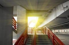 Stairway under concrete road bridge Stock Image